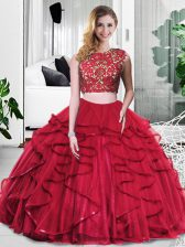 Designer Floor Length Zipper Sweet 16 Quinceanera Dress Wine Red for Military Ball and Sweet 16 and Quinceanera with Lace and Ruffles