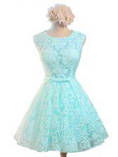Aqua Blue Scoop Neckline Belt Vestidos de Damas Sleeveless Lace Up