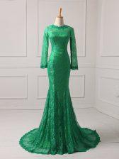 Cheap Brush Train Mermaid Homecoming Dress Green Scoop Lace Long Sleeves Zipper