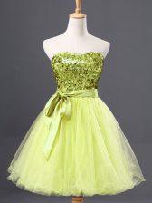 Yellow Green Sweetheart Neckline Sequins Prom Evening Gown Sleeveless Zipper