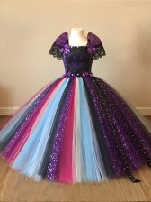 Square Short Sleeves Zipper Little Girls Pageant Dress Multi-color Tulle