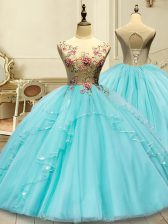 Aqua Blue Lace Up Scoop Appliques Vestidos de Quinceanera Tulle Sleeveless
