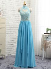 Fabulous Chiffon Halter Top Sleeveless Backless Lace Prom Dress in Baby Blue