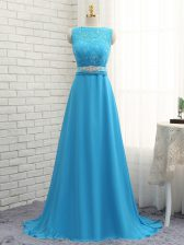 Edgy Brush Train Empire Quinceanera Court of Honor Dress Baby Blue Bateau Chiffon Sleeveless Zipper
