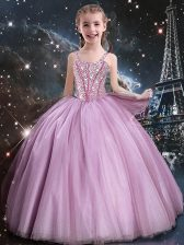 Attractive Floor Length Rose Pink Flower Girl Dress Straps Sleeveless Lace Up