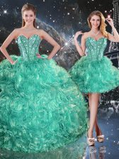 Captivating Turquoise Sleeveless Beading and Ruffles Floor Length Vestidos de Quinceanera