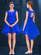 Discount Royal Blue Scoop Lace Up Lace and Belt Quinceanera Court Dresses Sleeveless