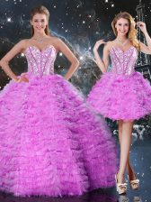Fuchsia Sweetheart Neckline Beading and Ruffled Layers Quinceanera Dress Sleeveless Lace Up