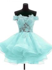 Trendy Sleeveless Mini Length Beading and Lace Zipper Homecoming Dress with Aqua Blue