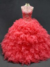 Sumptuous Coral Red Sleeveless Beading and Ruffles Floor Length Quinceanera Dress