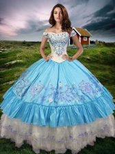 New Style Ball Gowns Quinceanera Dresses Baby Blue Off The Shoulder Taffeta Sleeveless Floor Length Lace Up