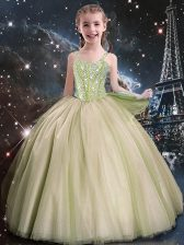 Modest Yellow Green Straps Lace Up Beading Flower Girl Dresses Sleeveless