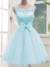 Custom Design Aqua Blue Lace Up Scoop Lace Quinceanera Court Dresses Tulle Sleeveless