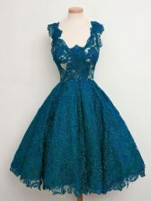 Enchanting Teal Straps Neckline Lace Quinceanera Dama Dress Sleeveless Lace Up