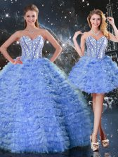 Deluxe Blue Tulle Lace Up Sweet 16 Dress Sleeveless Floor Length Beading and Ruffled Layers
