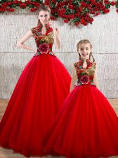 Red High-neck Neckline Appliques Quinceanera Gowns Sleeveless Lace Up