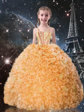 Perfect Sleeveless Lace Up Floor Length Beading and Ruffles Little Girl Pageant Gowns