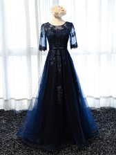 Luxurious Navy Blue Lace Up Dress for Prom Lace and Appliques Half Sleeves Floor Length