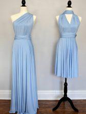 Nice Floor Length Empire Sleeveless Light Blue Vestidos de Damas Lace Up