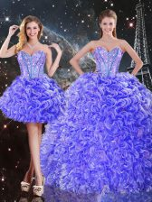 Sleeveless Organza Floor Length Lace Up Sweet 16 Dress in Purple with Beading and Ruffles