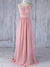 Floor Length Empire Sleeveless Pink Quinceanera Court Dresses Criss Cross