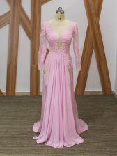 Ideal Long Sleeves Chiffon Brush Train Zipper Prom Evening Gown in Baby Pink with Lace and Appliques