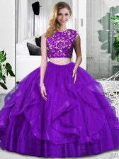 Free and Easy Purple Zipper Scoop Lace and Ruffles Ball Gown Prom Dress Tulle Sleeveless