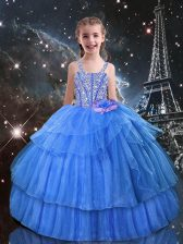 Light Blue Organza Lace Up Little Girls Pageant Gowns Sleeveless Floor Length Beading and Ruffled Layers