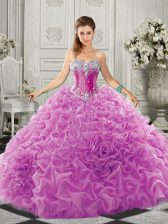 Lilac Sweetheart Neckline Beading and Ruffles Quinceanera Dress Sleeveless Lace Up