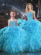Aqua Blue Ball Gowns Sweetheart Sleeveless Organza Floor Length Lace Up Beading and Ruffles Vestidos de Quinceanera