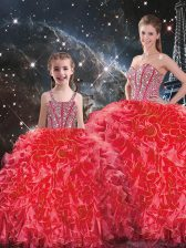 Glorious Floor Length Coral Red Vestidos de Quinceanera Sweetheart Sleeveless Lace Up