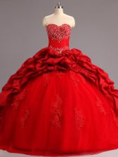 Sleeveless Court Train Beading and Appliques and Pick Ups Lace Up 15 Quinceanera Dress