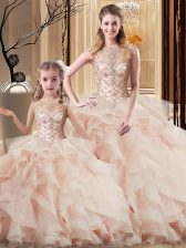 Custom Design Sleeveless Brush Train Lace Up Beading and Ruffles Quinceanera Gown
