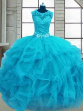 On Sale Tulle Sleeveless Floor Length Quinceanera Gown and Beading and Ruffles