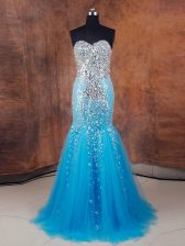 Sleeveless Lace Up Floor Length Beading and Sequins Prom Party Dress
