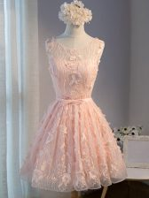 Hot Selling Pink Tulle Lace Up Dress for Prom Sleeveless Mini Length Appliques and Belt