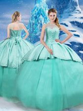 Sleeveless Beading and Ruching Lace Up 15 Quinceanera Dress with Turquoise Brush Train