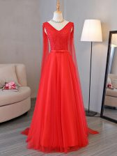 Red Lace Up Dress for Prom Lace and Belt Sleeveless Floor Length