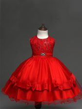 Scoop Sleeveless Kids Pageant Dress Knee Length Lace and Bowknot Red Tulle