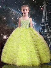 Nice Straps Sleeveless Tulle Little Girls Pageant Gowns Beading and Ruffled Layers Lace Up