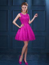 Fuchsia Scoop Zipper Lace and Ruffled Layers Dama Dress Sleeveless
