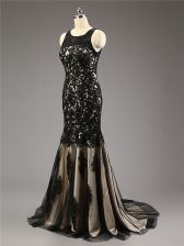 Glittering Black Zipper Sweetheart Lace and Appliques Homecoming Dress Tulle Sleeveless Brush Train