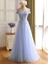 Off The Shoulder Sleeveless Lace Up Prom Dresses Lavender Tulle