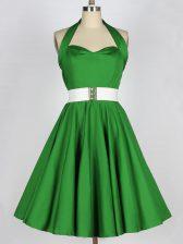 A-line Halter Top Sleeveless Taffeta Knee Length Lace Up Belt Court Dresses for Sweet 16