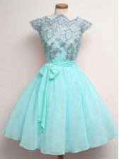 Aqua Blue Scalloped Neckline Lace and Belt Quinceanera Court of Honor Dress Cap Sleeves Lace Up