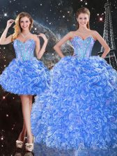 Organza Sweetheart Sleeveless Lace Up Beading Quinceanera Gowns in Baby Blue
