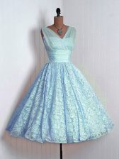 Baby Blue A-line Lace V-neck Sleeveless Lace Mini Length Lace Up Court Dresses for Sweet 16