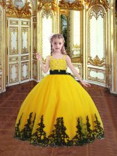 Unique Gold Sleeveless Lace and Appliques Floor Length Little Girls Pageant Dress Wholesale