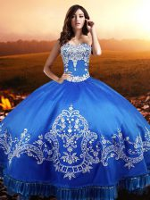 New Style Ball Gowns 15 Quinceanera Dress Blue Sweetheart Taffeta Sleeveless Floor Length Lace Up