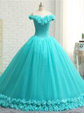 Aqua Blue Sleeveless Court Train Hand Made Flower Quinceanera Gown